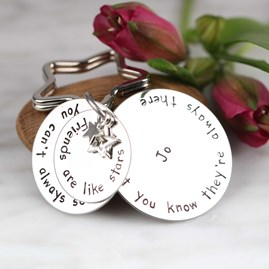 Personalised 'Friends Are Like Stars...' Keyring