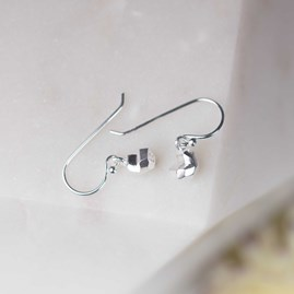 Solid Silver Faceted Heart Earrings