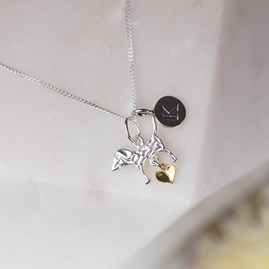Personalised Silver Dog And Gold Heart Pendant