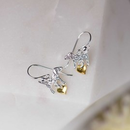 Silver Dog And Gold Heart Earrings