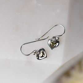 Silver Double Heart Earrings