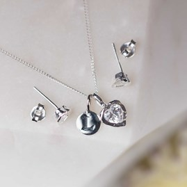 Hammered Heart Stone Stud Earrings