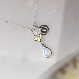 Personalised Silver And Gold Moonstone Heart Pendant