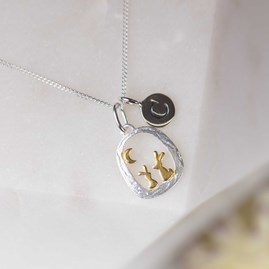 Personalised Silver And Gold Rabbit And Moon Pendant