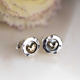 Hammered Silver And Brass Heart Stud Earrings