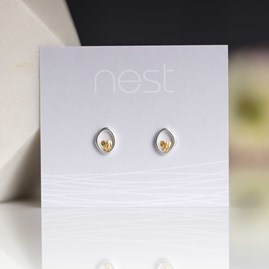 Silver Oval With Gold Heart Studs
