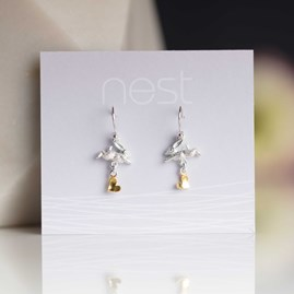 Leaping Rabbit With Gold Heart Earrings