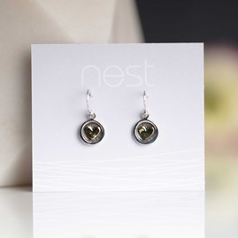 Solid Silver And Brass Heart Earrings