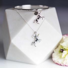 Personalised Solid Silver Unicorn Bangle