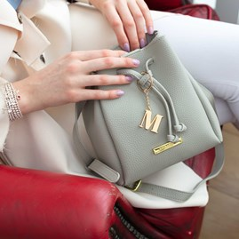 Katie Loxton Personalised Mini Chloe Bucket Bag In Grey