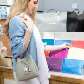Katie Loxton Personalised Mini Chloe Bucket Bag In Grey