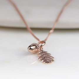 Personalised Acorn And Leaf Rose Gold Or Silver Pendant