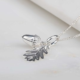Personalised Acorn And Leaf Silver Pendant