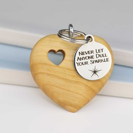 Handmade Wooden Heart Sentiments Keyring