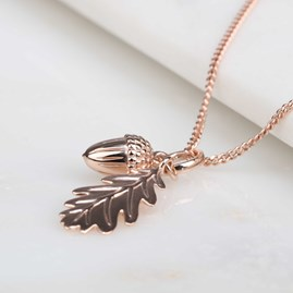 Personalised Acorn And Leaf Rose Gold Pendant
