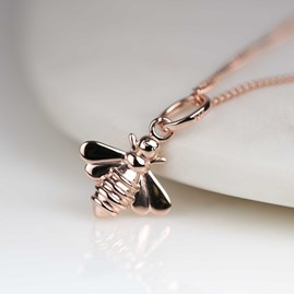 Personalised Solid Silver Or Rose Gold Bee Necklace
