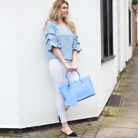 Katie Loxton Personalised Cara Scalloped Handbag In Cobalt Blue