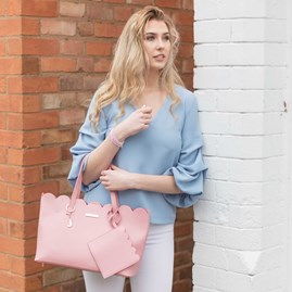 Katie Loxton Personalised Cara Scalloped Handbag In Blush Pink