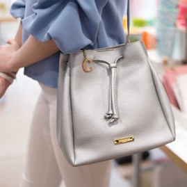 Katie Loxton Personalised Chloe Bucket Bag In Metallic Silver