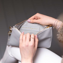 Katie Loxton Personalised 'Le Weekend' Secret Saying Clutch Bag