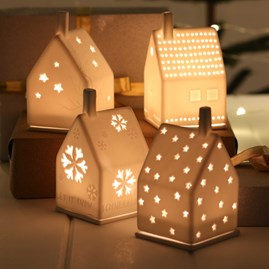 Porcelain Tea Light House With Stars