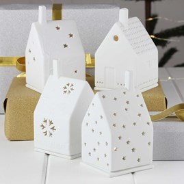 Porcelain Tea Light House with Heart
