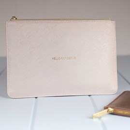 Personalised 'Hello… ' Metallic White Pouch