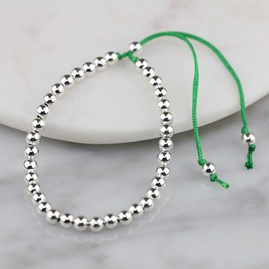 Silver Friendship Bracelets Emerald Green