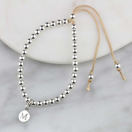 Personalised Silver Friendship Bracelet Caramel
