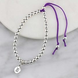Personalised Silver Friendship Bracelet Purple