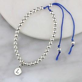 Personalised Silver Friendship Bracelet Peacock Blue