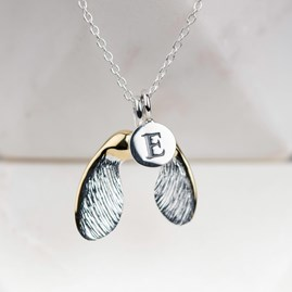 Personalised Gold And Silver Sycamore Seed Pendant