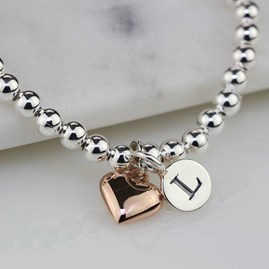 Personalised Skinny Bead Bracelet With Heart Charm