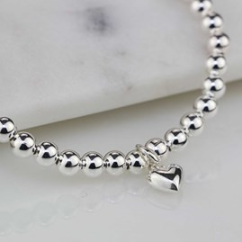 Children's Silver Bracelet With Silver Heart Charm