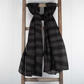 Designer Charcoal Black Striped Scarf