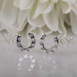 Silver Horseshoe Stud Earrings