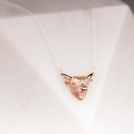 Highland Cow Necklace In Silver Or Rose Gold
