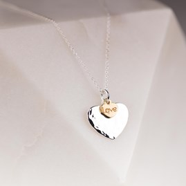 Solid Silver Heart Necklace With Gold Love Charm