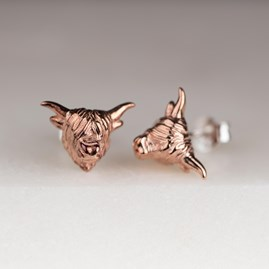 Highland Cow Earrings In Silver Or Rose Gold