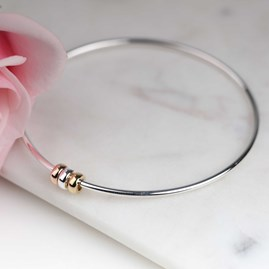 Solid Silver 'Harmony Beads' Bangle