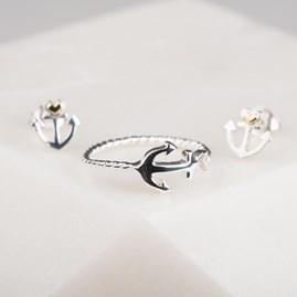 Solid Silver Anchor And Heart Ring