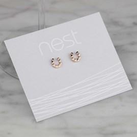 Silver Or Rose Gold Horseshoe Stud Earrings