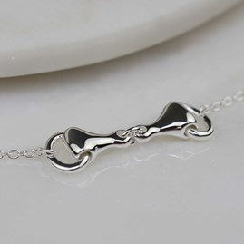 Solid Silver Or Rose Gold Horse Snaffle Pendant