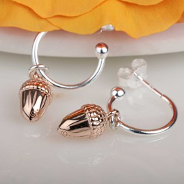Rose Gold Acorn Hoop Earrings