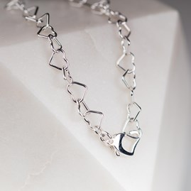 Solid Silver Interlocking Hearts Bracelet