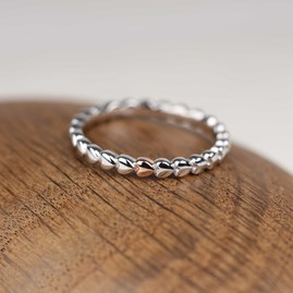 Interlocking Solid Silver Heart Ring