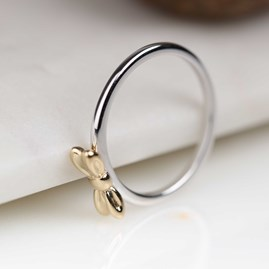 Solid Silver Ring With Gold Bow