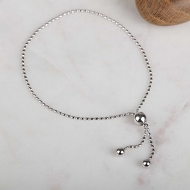 Solid Silver Adjustable Bead Bracelet