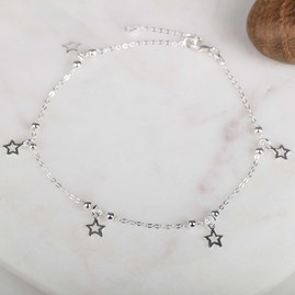 Solid Silver Star Anklet