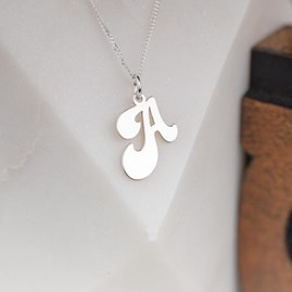 Solid Silver 'Groovy' Letter Charm Necklace